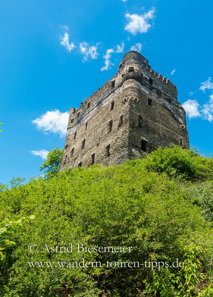 Burg Balduinseck auf dem Masdascher Burgherrenweg auf dem Weg zur Geierlay-Brücke